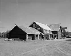 Side view of the Gakona Roadhouse, a major community building