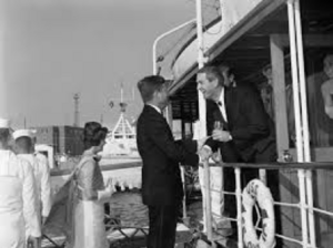 John Connally welcoming President Kennedy Aboard Sequoia July 11, 1963
