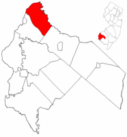 Oldmans Township highlighted in Salem County. Inset map: Salem County highlighted in the State of New Jersey.