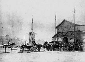 StateLibQld 2 197123 Governor's party arriving at the Queensland Intercolonial Exhibition, Brisbane, 1876