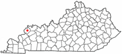 Location of Morganfield within Kentucky.