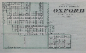 Map of Oxford, Indiana from 1876 atlas