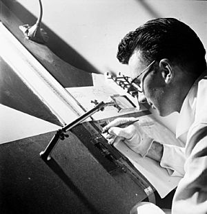Norman McLaren drawing on film - 1944