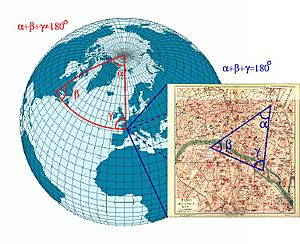 Triangle on globe