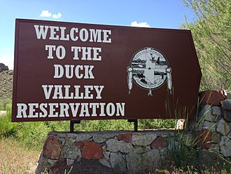 2013-06-16 14 24 38 Entrance sign to Duck Valley Reservation along Nevada State Route 225 near Mountain City in Nevada