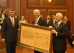 Hashim Thaci Joe Biden Fatmir Sejdiu with Declaration of Independence of Kosovo