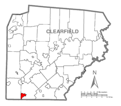 Location of Westover in Clearfield County