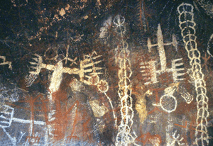 Pictographs at the Burro Flats Painted Cave