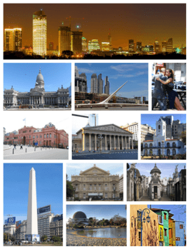 From top (left to right): skyline of the city at dusk, the National Congress, the Woman's Bridge in Puerto Madero, Tango dancers in San Telmo, the Pink House, the Metropolitan Cathedral, Cabildo, the Obelisk, Colón Theatre, La Recoleta Cemetery, the Planetarium in the Palermo Woods, and Caminito in La Boca.