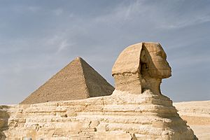 Cairo, Gizeh, Sphinx and Pyramid of Khufu, Egypt, Oct 2004