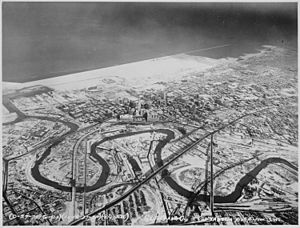 Downtown Cleveland, Ohio, in winter, from the air, 12-1937 - NARA - 512842