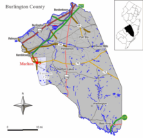 Map of Marlton CDP in Burlington County. Inset: Location of Burlington County in the State of New Jersey.