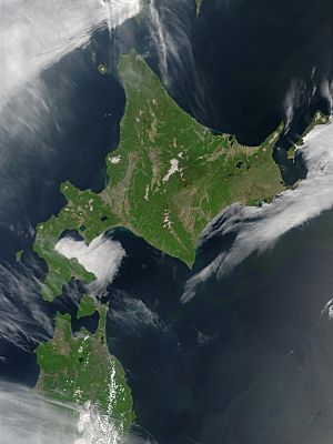 Satellite image of Hokkaido, Japan in May 2001