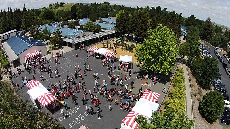 Aerial view of Alamo school during the annual hoedown celebration