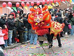 Celebrating Chinese New Year on 8th Avenue Sunset Park, Brooklyn