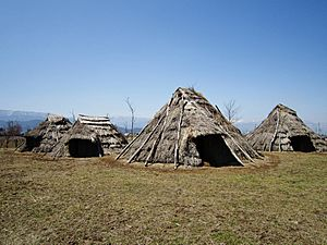 Hira-ide Historic Site Park reconstructed Jomon period (3000 BC) houses