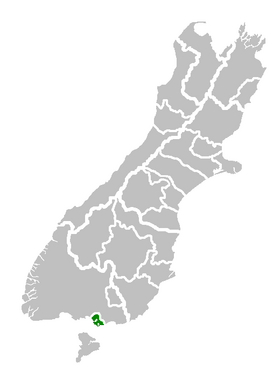 Invercargill City's location within the South Island