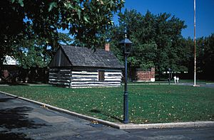 LOG CABIN AT FORT CHRISTIANA, NEW CASTLE COUNTY, DELAWARE