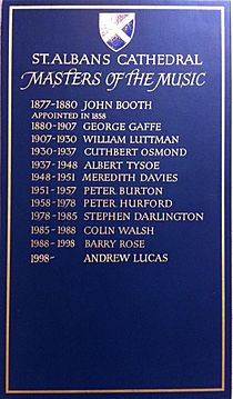List of organists of St Alban's Cathedral