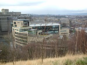 Rockstar North building, shot from hill