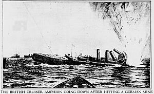 The British Cruiser HMS Amphion Going Down After Hitting a German Mine 6 August 1914 North Sea