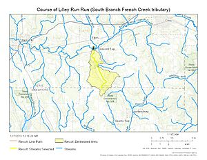 Course of Lilley Run (South Branch French Creek tributary)