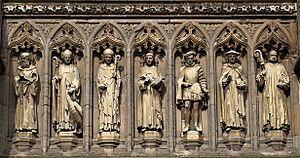 Leicester Cathedral Vaughan Porch statues detail