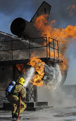 RAF Firefighter During a Training Exercise MOD 45152012