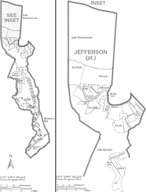 Map of Jefferson Parish Louisiana With Municipal Labels