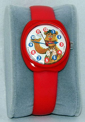 Vintage Fozzie Bear Muppets Character Wrist Watch By Picco, 7 Jewels, Manual Wind, Henson Associates, Copyright 1980 (26674846046)