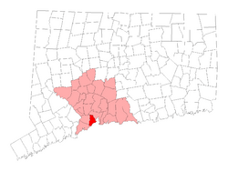 Location in New Haven County, Connecticut