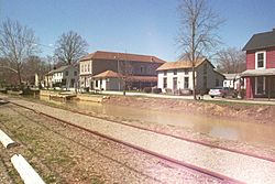 Metamora, with railroad and canal in the foreground