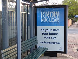 Know Nuclear campaign bus shelter advertisement, South Australia, August 2016