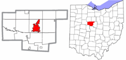 Location of Marion in Marion County and the state of Ohio