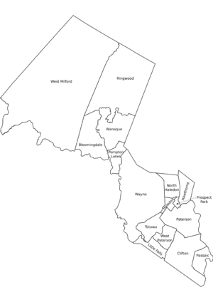 Passaic County, NJ municipalities labeled