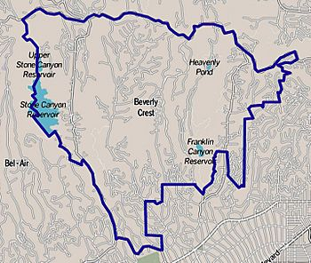 Map of Beverly Crest neighborhood of Los Angeles, California