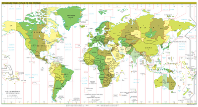 Standard time zones of the world