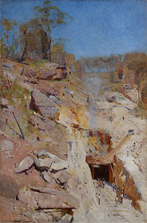 Arthur Streeton - Fire's on - Google Art Project