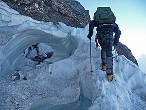 Climbing over a Crevasse Bridge