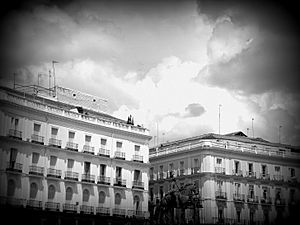 Puerta del Sol in Madrid - black and white photograph