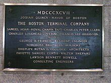 The Boston Terminal Company plaque