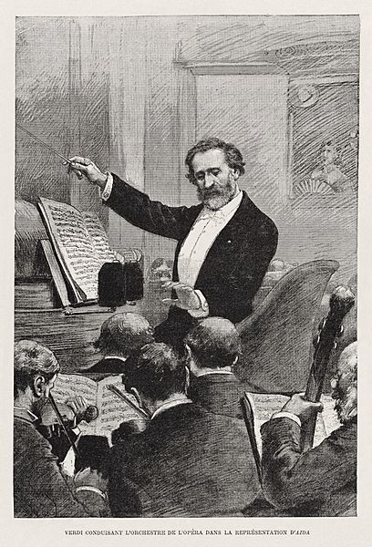 Verdi conducting Aida in Paris 1880 - Gallica - Restoration