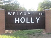 Holly, CO, welcome sign IMG 5795