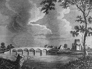 Kelso Abbey and the auld brig in the late 18th century