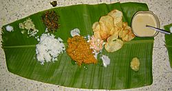 Lunch from Karnataka on a plantain leaf