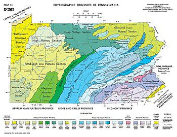 Physiographic provinces of Pennsylvania, Pennsylvania Geological Survey, 4th ser., Map 13, Pennsylvania Geological Survey of the PennDepCons&NatRes.jpg
