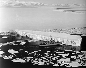 Burton Island, Atka, and Glacier push iceberg in McMurdo Sound (827218l)