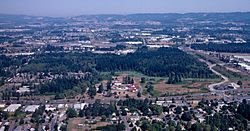 Aerial photograph of the Tualatin Hills Nature Park in 1998, Huber is in the foreground.