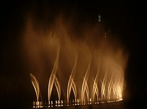 "Dubai Fountain performing ""Bassbor Al Fourgakom"""