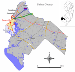 Map of Pennsville in Salem County. Inset: Location of Salem County in New Jersey.